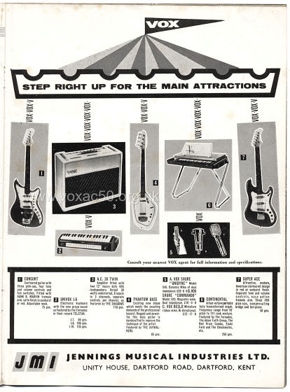 Beat Monthly magazine, 1963, volume 1, Vox advert