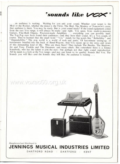 Beat Monthly magazine, 1963, volume 7, Vox advert