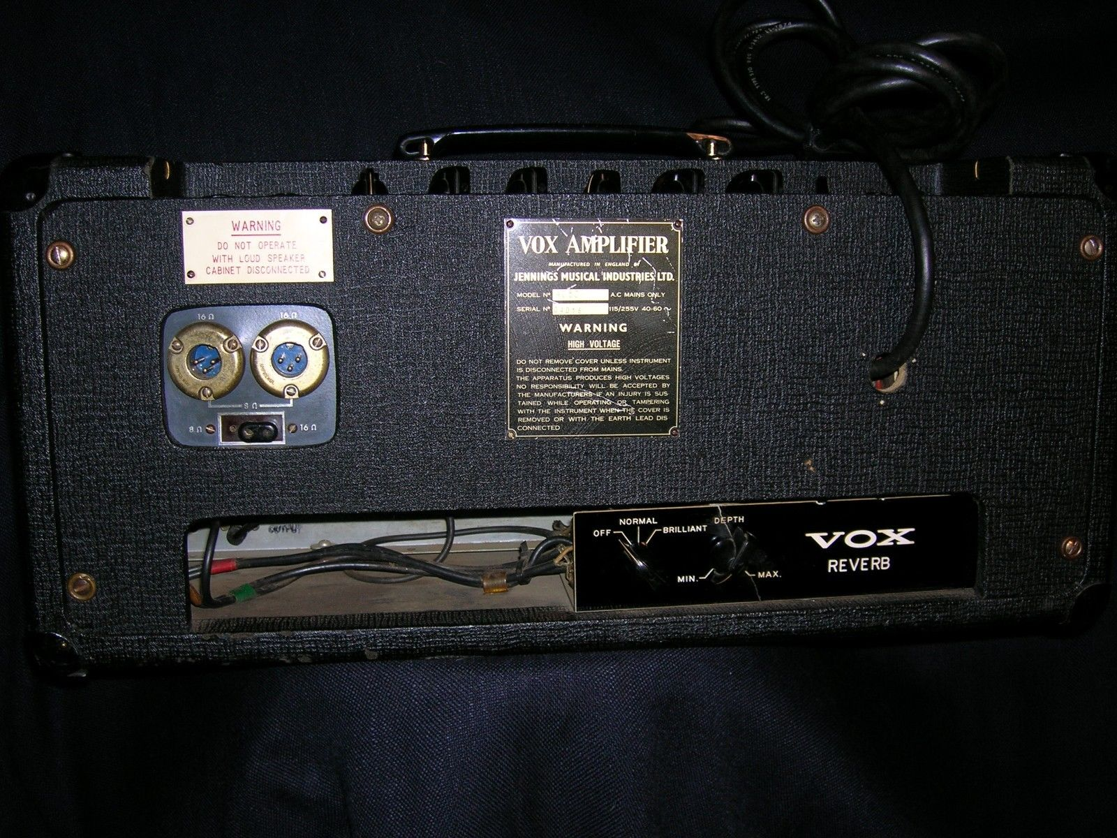 The Vox Ac50 Amplifier Introduction Uniton 50 60 Watt Head Wiring Diagram With Special Reverb Unit
