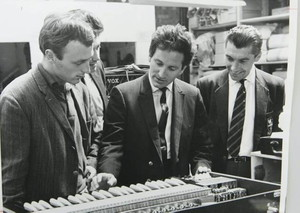 Lonnie Donegan at the Vox factory, Dartford