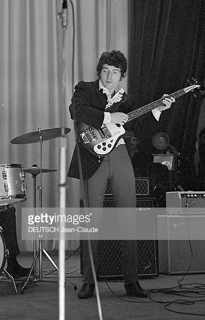 Pete Quaife of the Kinks, late 1964, with a small box vox ac50
