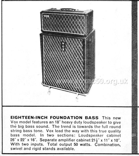 Vox advert for the AC50 amplifier, late 1964