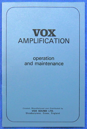 Vox Sound Limited AC50 made by Dallas Arbiter, original literature