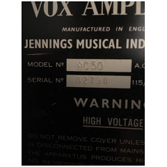 Vox Ac50, large box, serial number 2790